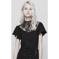 Das Black Blossom Top ist ein Gothic Shirt mit feiner Spitze am Dekolleté und gerüschten Ärmeln.