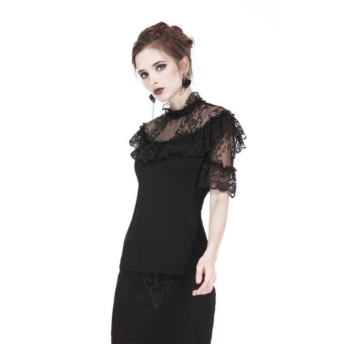 LACY BLACK TOP: Gothic Shirt mit viktorianischer Spitze