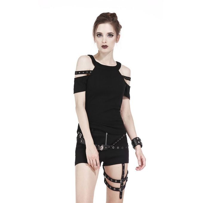 LOVE CUT SHOULDER TOP: schulterfreies Gothic Top 001