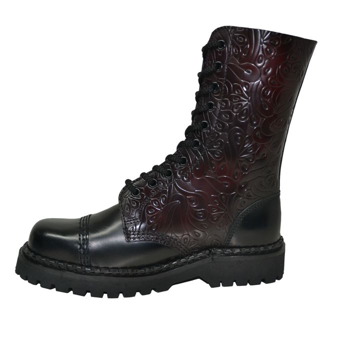 Ranger Boots with Black and Burgundy Flowers