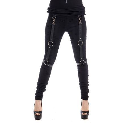 HEERO LEGGINGS: Leggings im Used Look mit Bondages