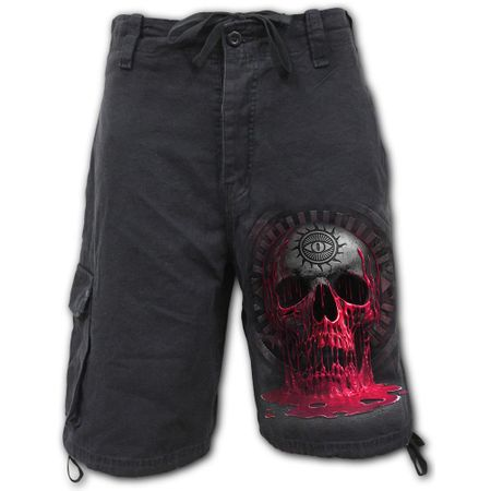 Vintage Cargo Shorts Black: Bleeding Souls