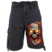 Vintage Cargo Shorts Black: Skull Blast – Bild 1