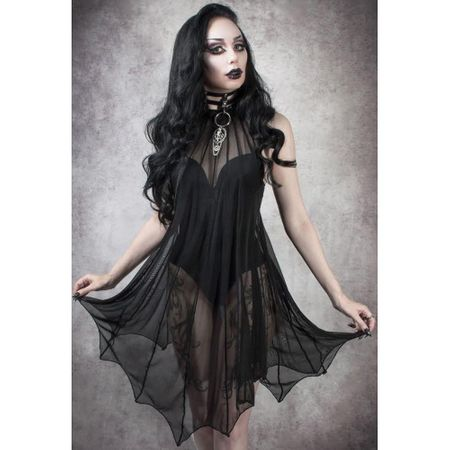 MEDEINA BAT WING DRESS: transparentes kurzes Kleid
