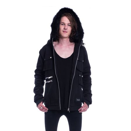 MADDOX JACKET - warme Gothic Jacke mit Plüschkapuze