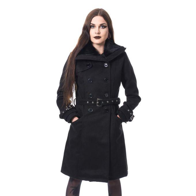 LUTANA COAT - Gothic Kurzmantel mit Plüschkragen