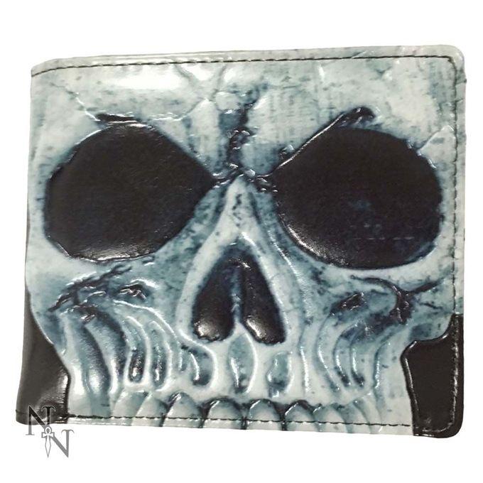 SKULL - schwarze Geldbörse mit hellblauem Totenschädel als Aufdruck