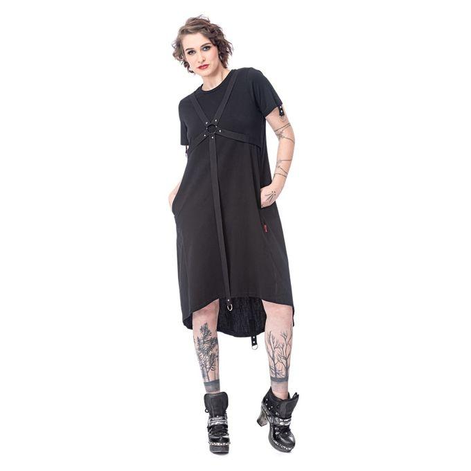 Langes Gothic Kleid mit Ringen und Bondage