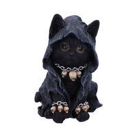 Süße Grim Reaper Cat mit Mäntelchen und Skull-Halsband und passenden Armbändern.