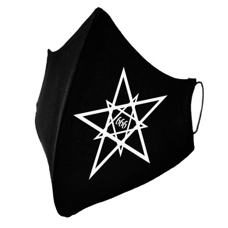 Schwarze 666 Pentagramm Behelfsmaske, Gothic Design