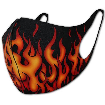 Tribal Flames ist ein Mund-Nasen-Schutz mit Print von flammenden Tribals.