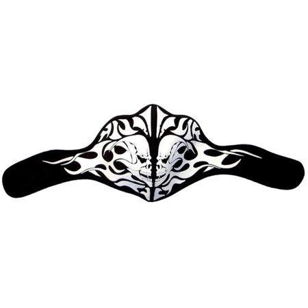 Bikermaske aus Neopren mit  weißen Skull und Tribal Prints.