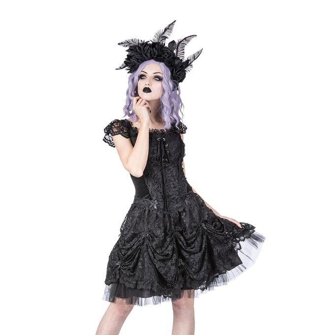 Gothic Lolita Minikleid mit Schnürung und Spitzenärmeln