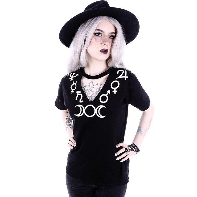 Symbols - V-Neck Girlie Shirt mit Mond-Druck