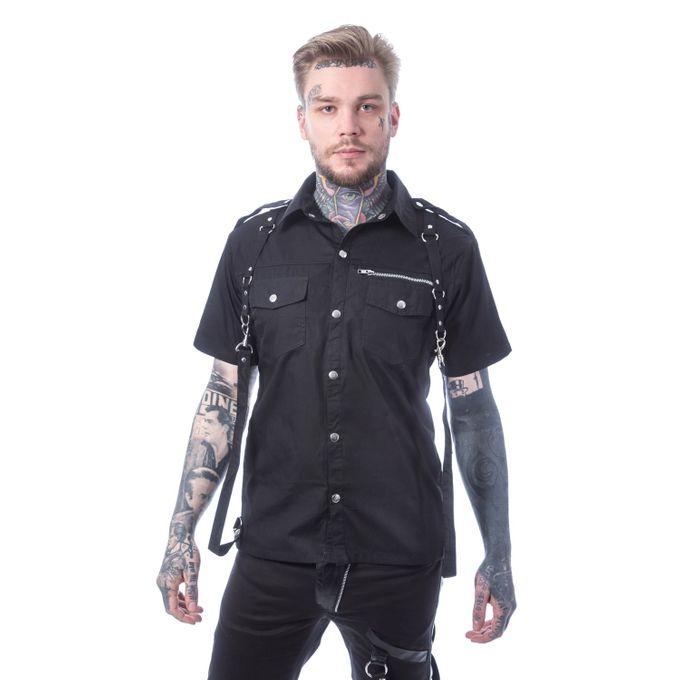 Orson Shirt - Kurzarm Gothic Hemd mit Bondages