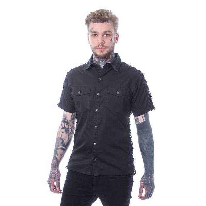 Atlas Shirt - kurzärmliges Gothic Schnürhemd