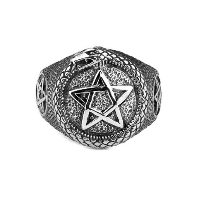 Pentagramm mit Schlange Ring aus Edelstahl
