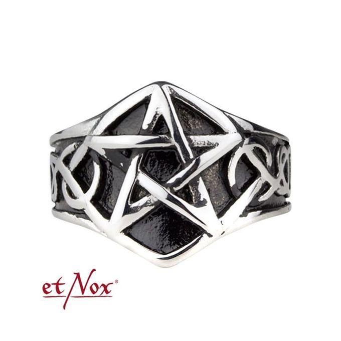 großer Pentagramm Ring Edelstahl