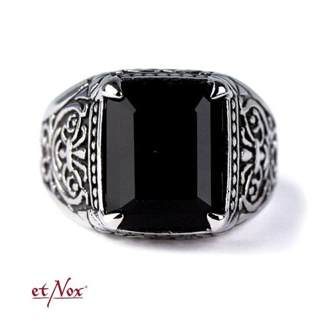 Black Ornament Edelstahl Ring mit Onyx