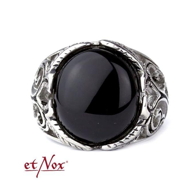 Big Black Ornament Edelstahl Ring mit Onyx