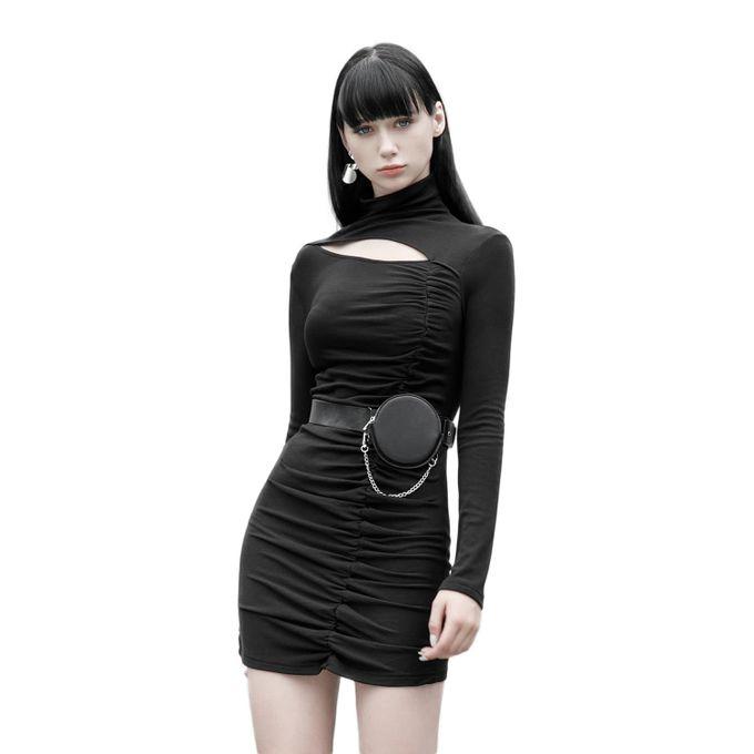 Viviana - gerafftes Gothic Kleid mit Stehkragen