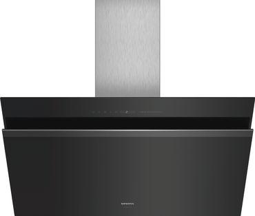 SIEMENS blackSteel Design LC91KWW60S Schwarz mit Glasschirm Wand-Esse, 90 cm