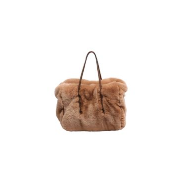 Abro Fell Handtasche Rabbit Fur Braun