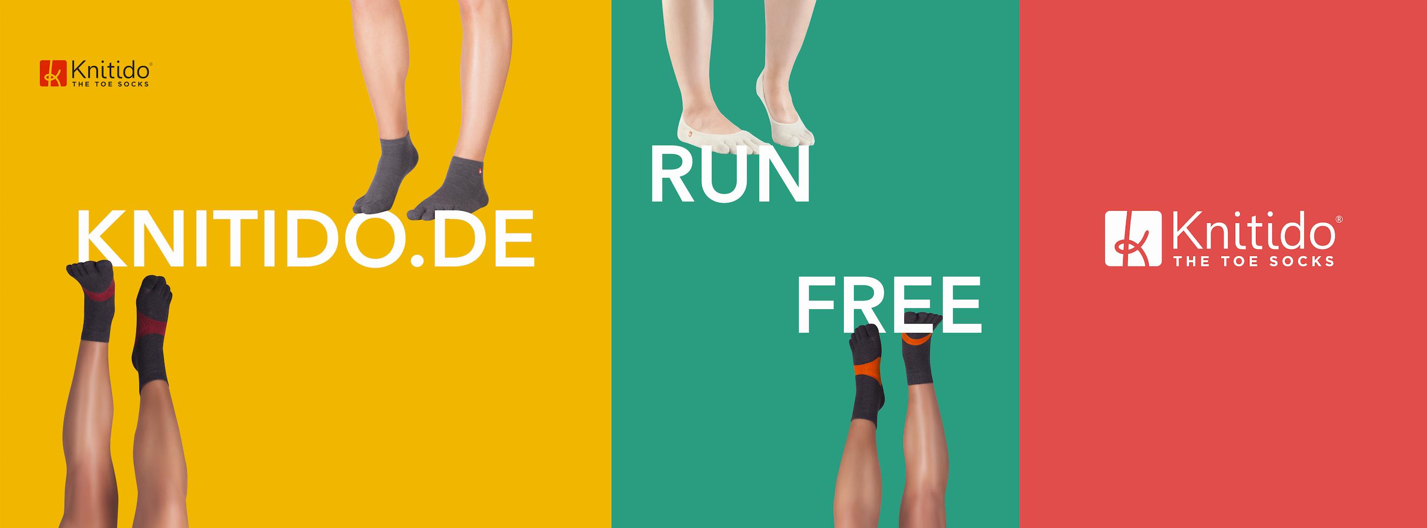 Knitido Sport-Zehensocken: Modelle Compression TS, Yoga Flow, Marathon TS Ultralite, Massage-Zehensocken. © SushiKeks