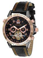 Calvaneo Herren-Armbanduhr Astonia 5th Anniversary Blacknight Rosegold Analog Automatikuhr Leder schwarz 107641