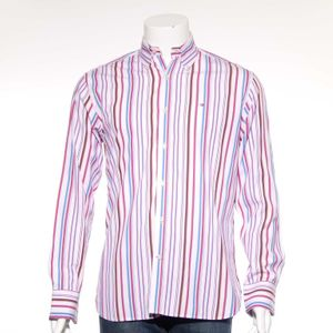 Tommy Hilfiger 80´s Two-Ply Langarm Hemd Gr. M in Rosa Mehrfarbig (AHB) 001