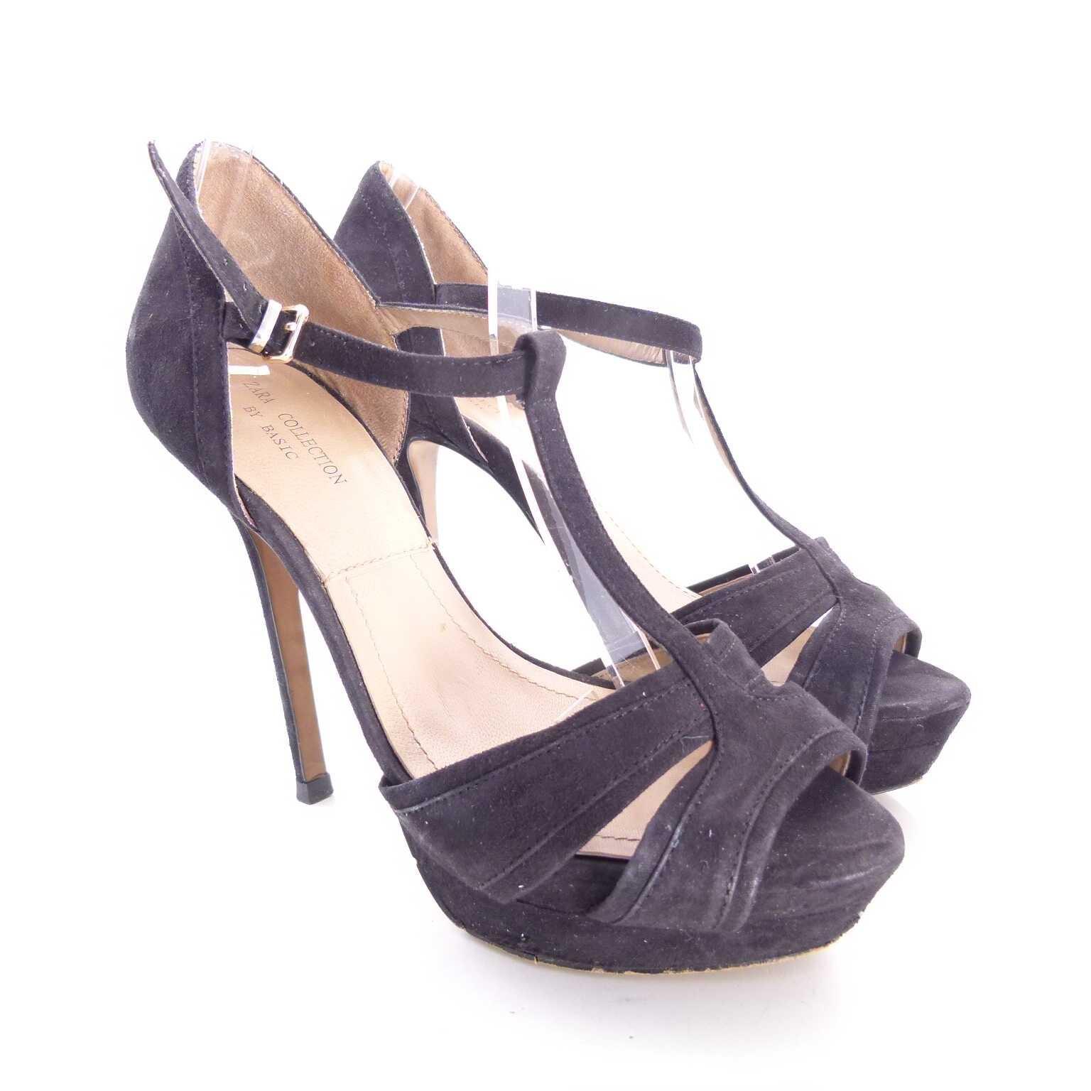 zara riemchen high heels wildleder sandaletten schuhe gr 37 schwarz ahb women schuhe sonstiges. Black Bedroom Furniture Sets. Home Design Ideas