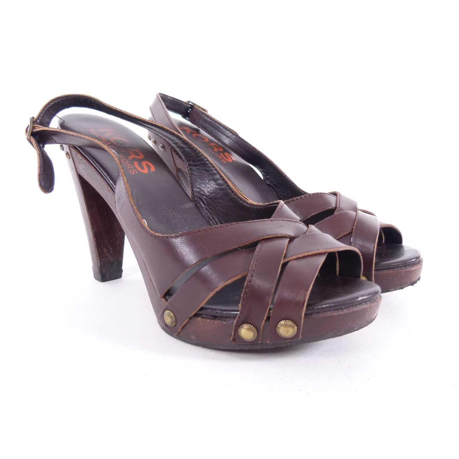 michael kors holz riemchen sandalette schuhe gr 37 in braun muc women schuhe. Black Bedroom Furniture Sets. Home Design Ideas