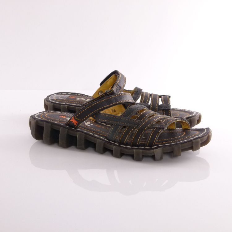 Art Leder Pantoletten Schuhe Gr. 36 Schwarz Orange Echt Leder Sportiv NEU (HH) – Bild 1