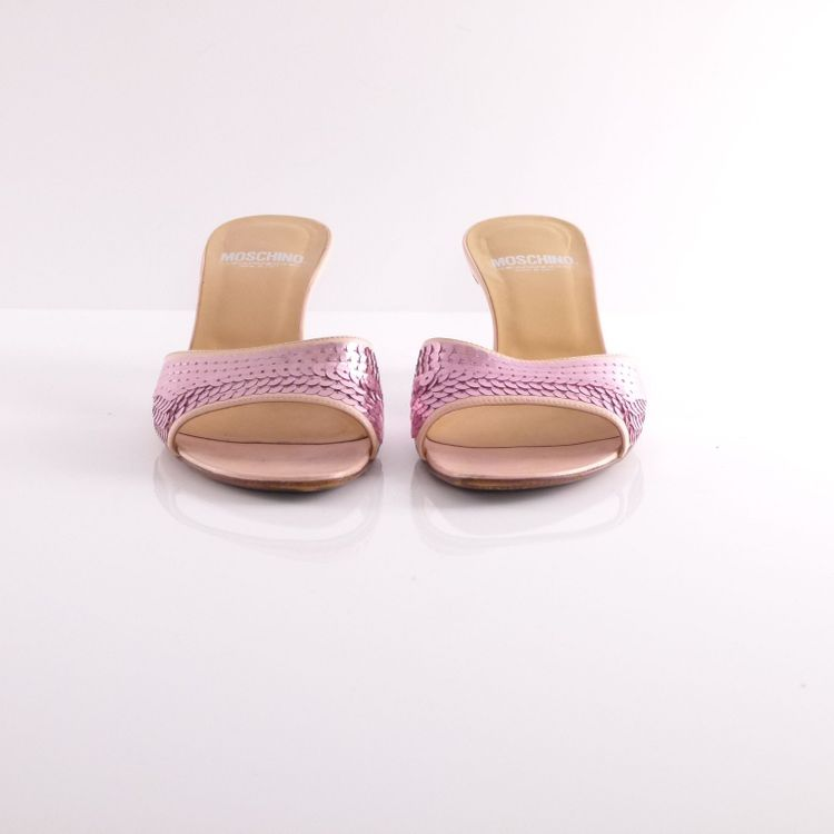 Moschino Leder Pantoletten Schuhe Gr. 36 Rosa mit Pailletten (HH) – Bild 3