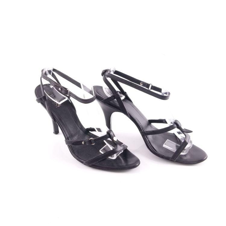 Hugo Boss Riemchen Sandaletten Schuhe Gr 38,5 Schwarz Echt Leder (HH) – Bild 1