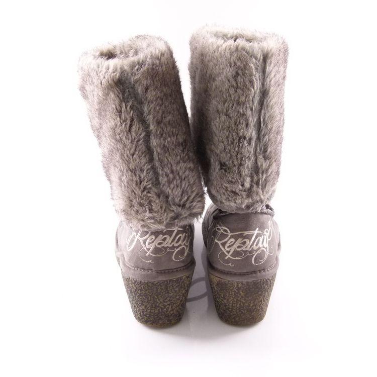 Replay Keil Boots Stiefel Schuhe Gr. 38 Grau Mit Web Pelz Stickerei (HH) – Bild 3