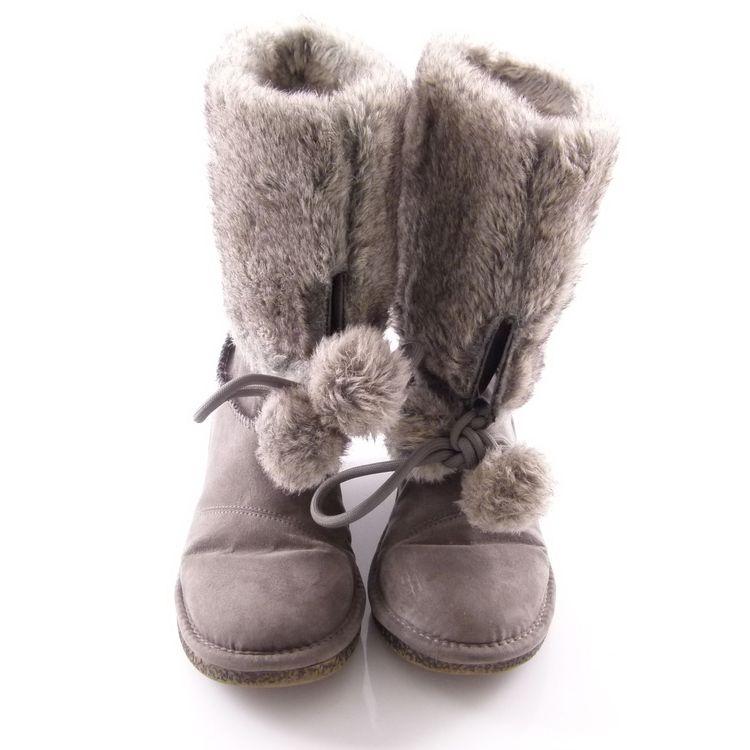 Replay Keil Boots Stiefel Schuhe Gr. 38 Grau Mit Web Pelz Stickerei (HH) – Bild 4