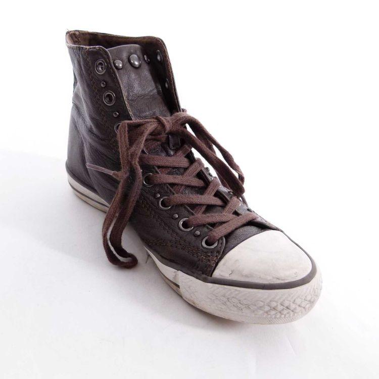 Ash Leder High Top Sneakers Schuhe Gr. 37 Braun Weiß mit NIeten Echtleder (AHB) – Bild 2
