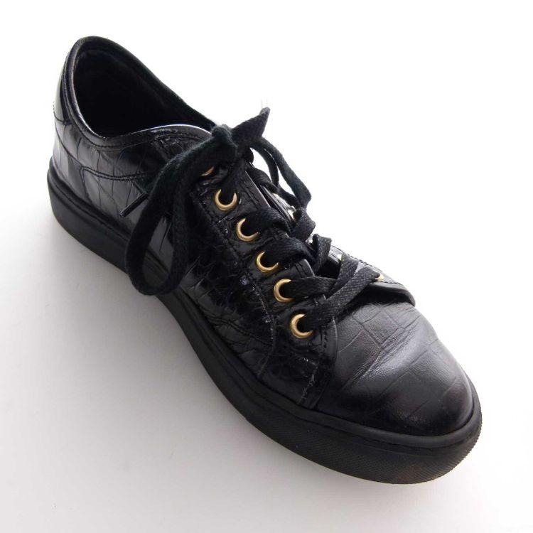 Aigner Leder Schnürschuhe Sneaker Schuhe Gr. 36 in Schwarz Kroko Muster (AHB) – Bild 2