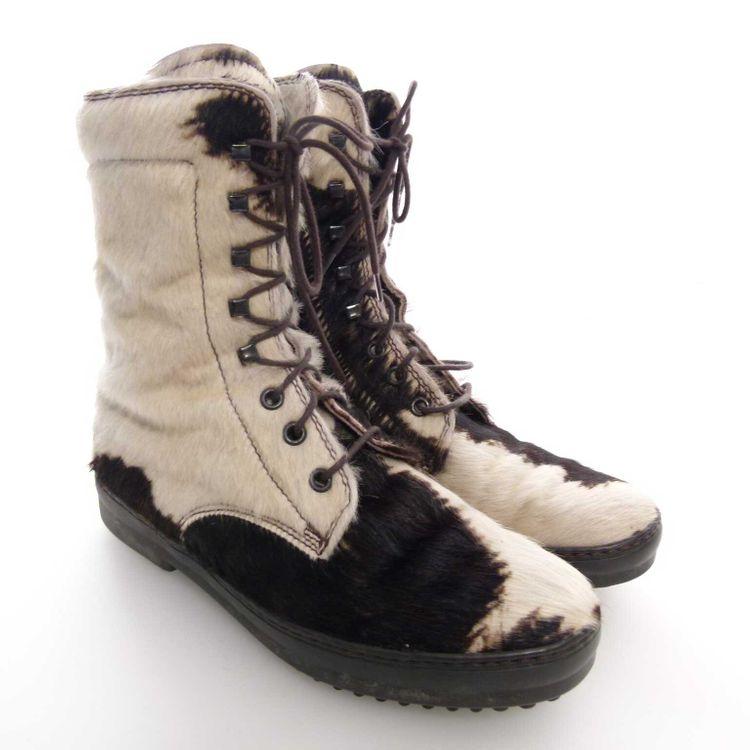 Tod's Schnürschuhe Stiefeletten Schuhe Gr 37 Weiß Braun Gemustert Echtfell (AHB) – Bild 1