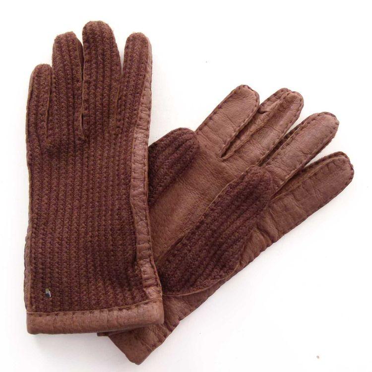 Roeckl Leder Strick Handschuhe Gr. S Braun mit Kaschmir (AHB) – Bild 1