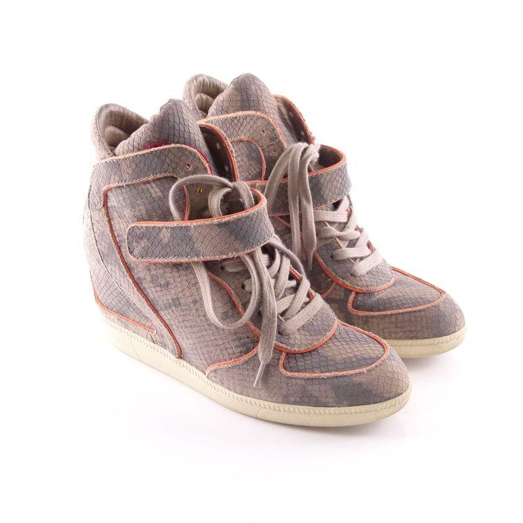 Ash Leder High Top Sneaker Wedges Schuhe Gr. 39 Grau Pink Reptiloptik (HH) – Bild 1