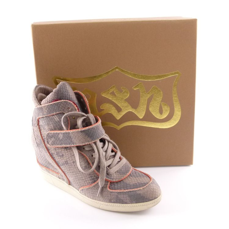 Ash Leder High Top Sneaker Wedges Schuhe Gr. 39 Grau Pink Reptiloptik (HH) – Bild 2