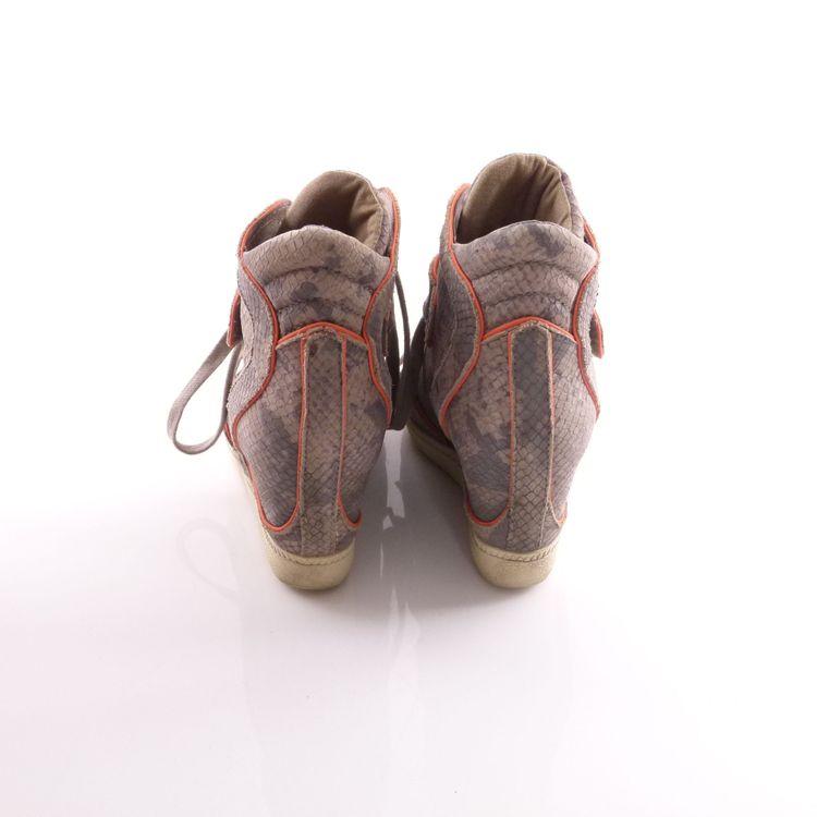 Ash Leder High Top Sneaker Wedges Schuhe Gr. 39 Grau Pink Reptiloptik (HH) – Bild 4