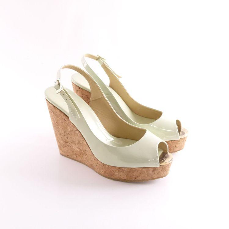 Jimmy Choo Lack Leder Wedges Sandaletten Schuhe Gr. 41 Grün Neu Mit Karton (HH) – Bild 1