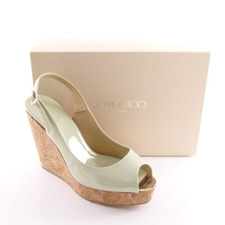 Jimmy Choo Lack Leder Wedges Sandaletten Schuhe Gr. 41 Grün Neu Mit Karton (HH) – Bild 2