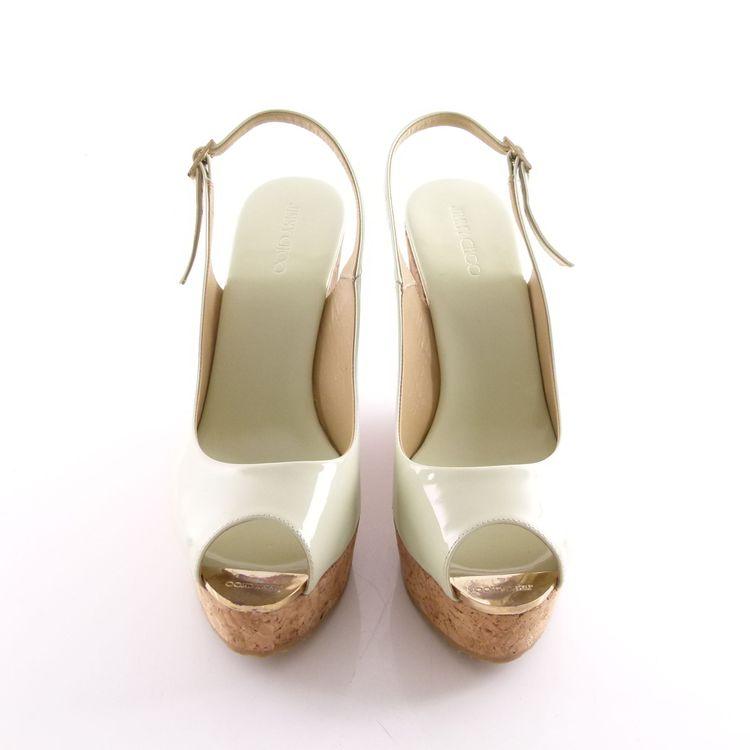 Jimmy Choo Lack Leder Wedges Sandaletten Schuhe Gr. 41 Grün Neu Mit Karton (HH) – Bild 3