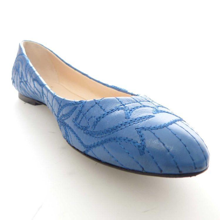 Gianni Versace Leder Stitch Ballerinas Flats Gr. 38 in Himmelblau Blau (AHB) – Bild 2