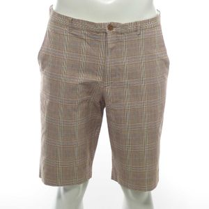 French Connection Bermuda Shorts Hose W 34 Braun Grün Weiß Kariert (AHB)