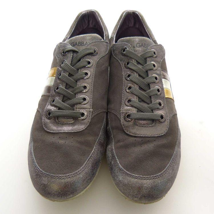 Dolce & Gabbana D&G Leder Schnür Sneaker Schuhe Gr. 42 EU / 8 UK in Grau (AHB) – Bild 3